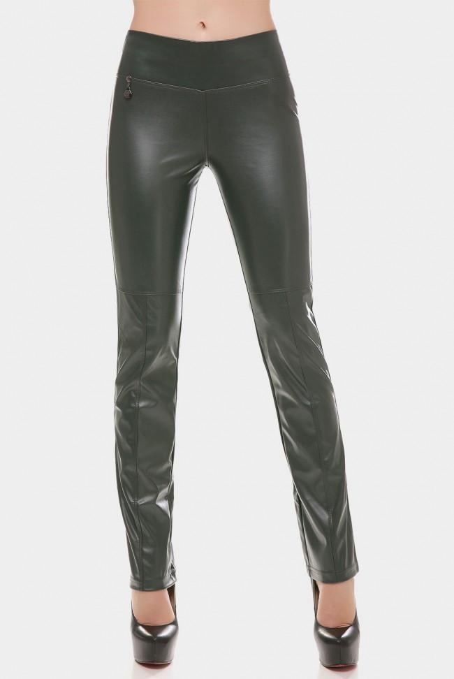 Женские кожаные зеленые стильные брюки средней посадки Брюки DEBORA BRK-247E