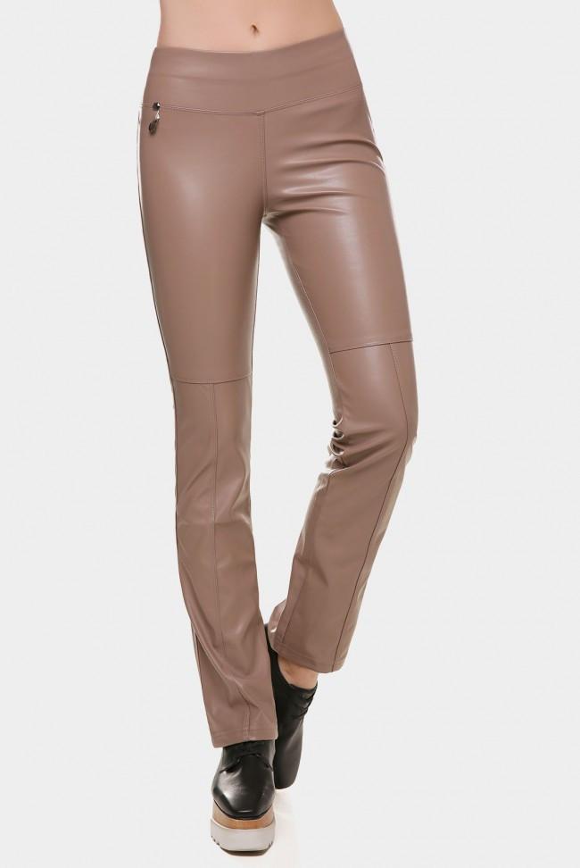 Женские кожаные модные брюки цвета капучино средней посадки DEBORA BRK-247G
