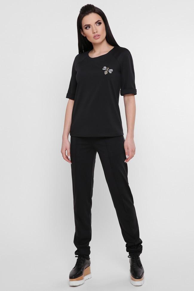 Однотонный черный женский повседневный костюм: штаны прямого кроя и футболка KS-1754A