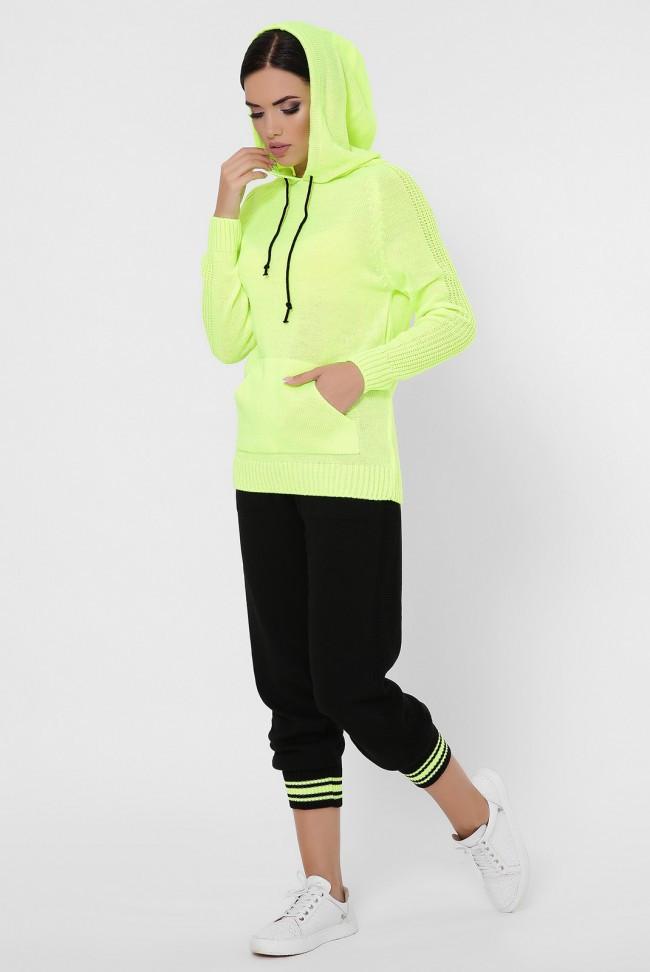 Женский модный вязаный спортивный костюм: яркая лимонная кофта с кпюшоном и однотонные черные штаны на манжетах
