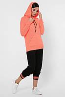 Женский можный вязаный спортивный костюм: яркая оранжевая кофта с кпюшоном и однотонные черные штаны на манжетах