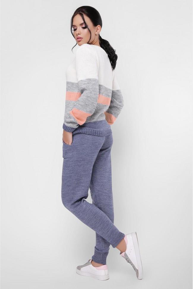 """Стильный вязаный молодежный женский костюм с брюками и свитером """"TINA"""" цвет джинсовый синий"""