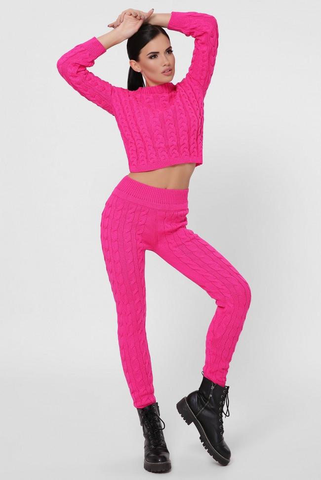 Модный вязаный женский костюм с укороченым топом и штанами с высокой талией ярко розовый