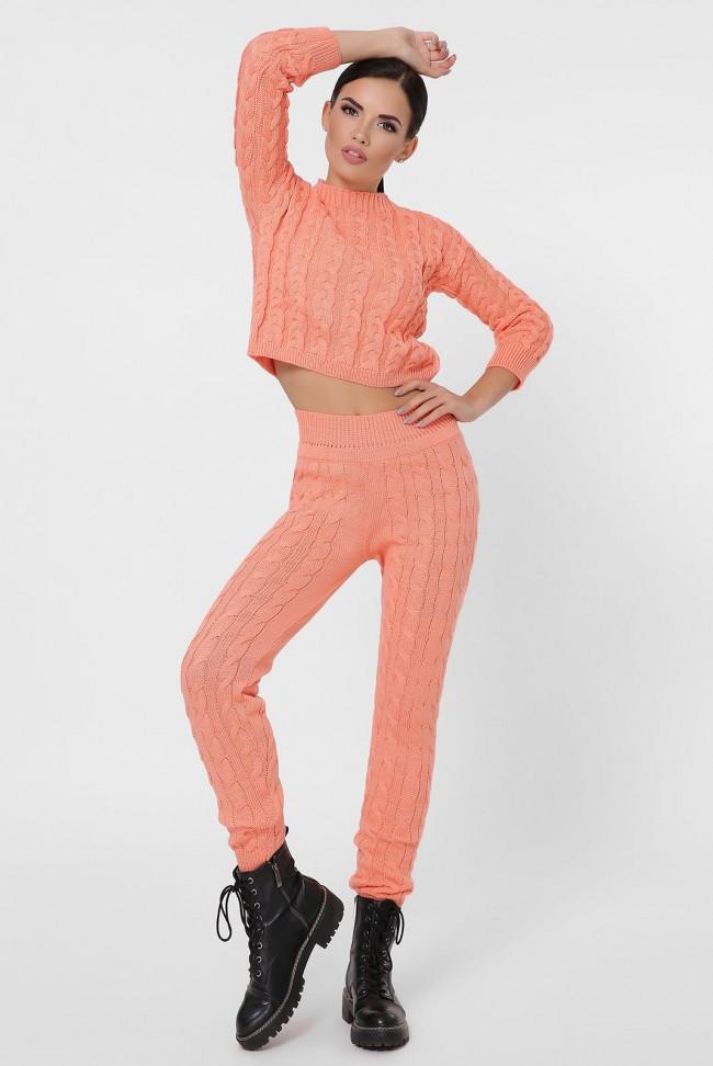 Модный вязаный женский костюм с укороченым топом и штанами с высокой талией персик