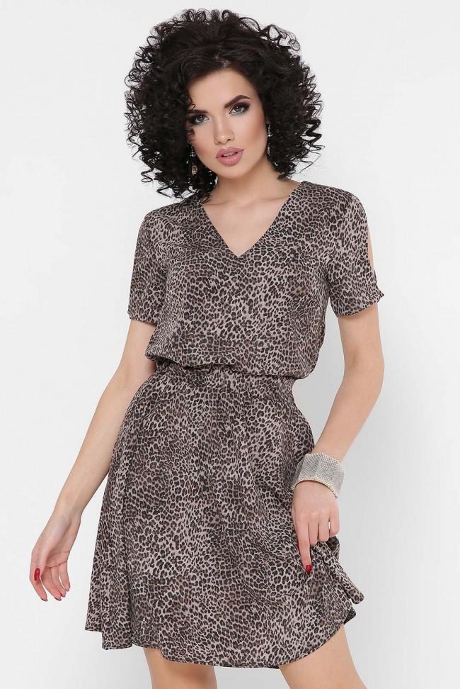 Короткое женское легкое платье в леопардовый принт