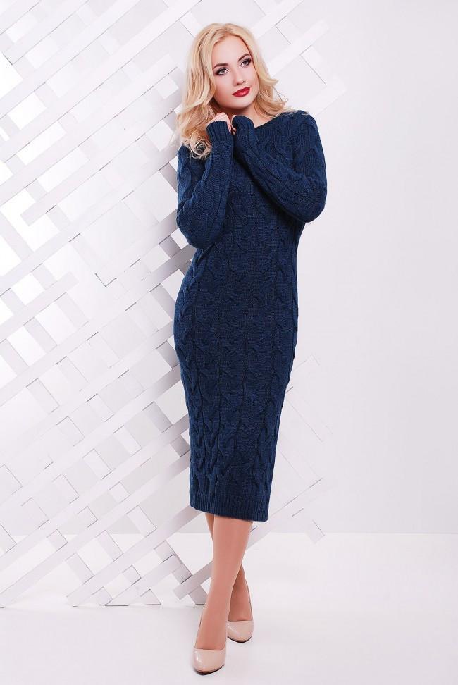 """Теплое женское однотонное вязаное платье миди с разрезами по бокам """"LOLO"""" темный джинс"""