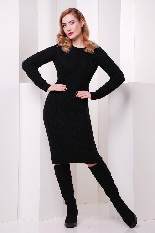 Теплое вязанное платье по фигуре с длинным рукавом до колен цвет черный