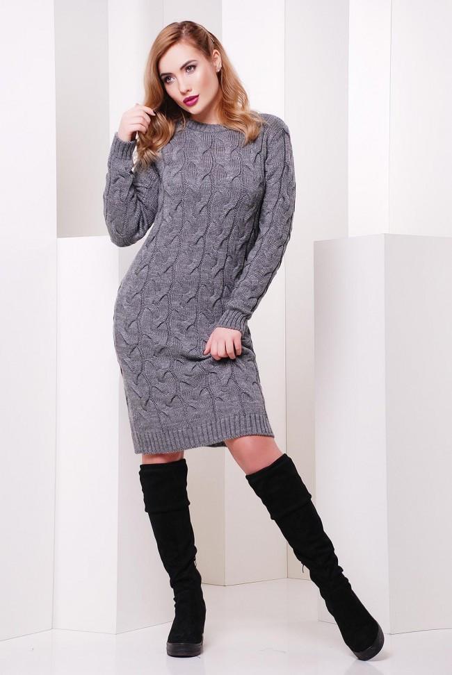Однотонное базовое вязанное платье по фигуре с длинным рукавом до колен серого цвета