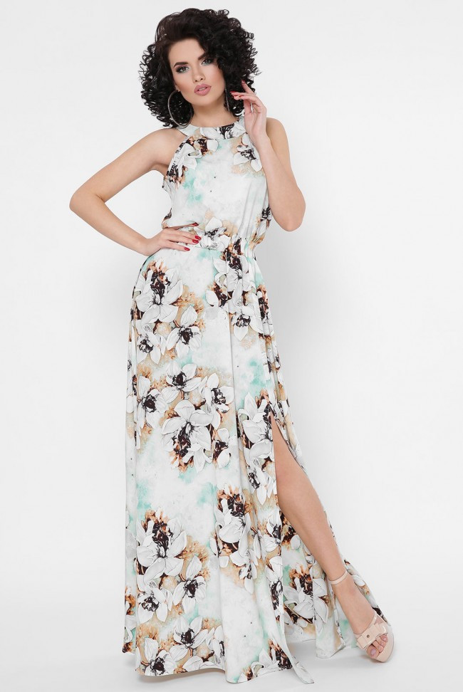 Нарядный женсикий сарафан в пол без рукавов  в цветочный принт  с разрезом и талией на резинке