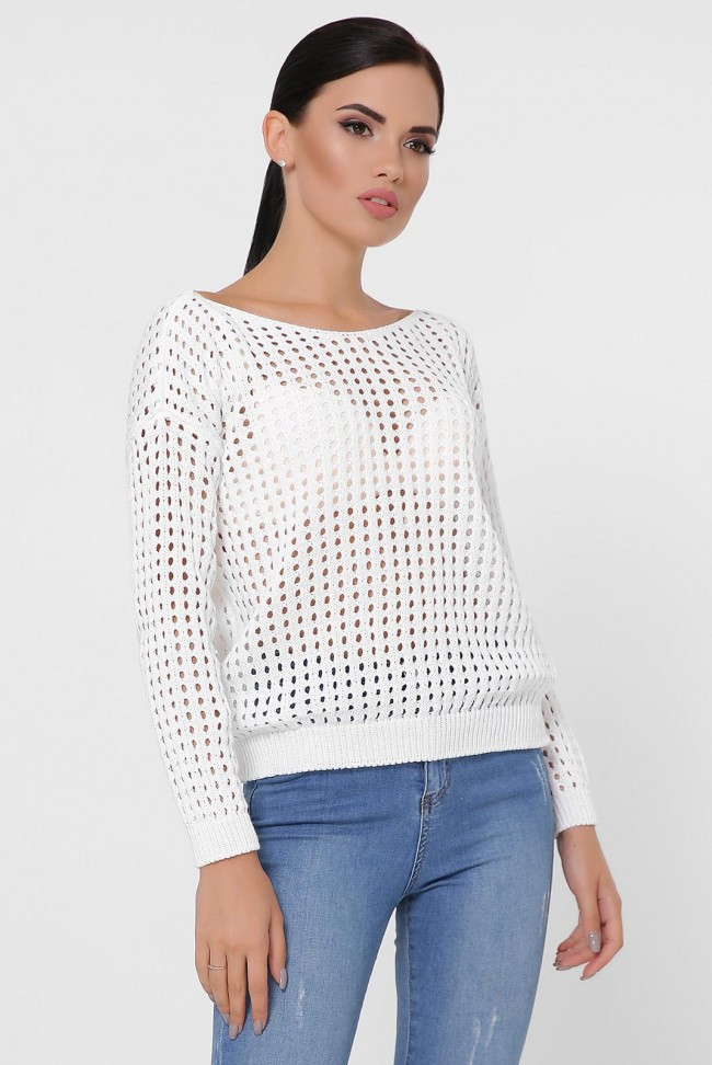 """Молодежный женский вязаный свитер с узорами горловина вырез """"лодочка"""" белый"""