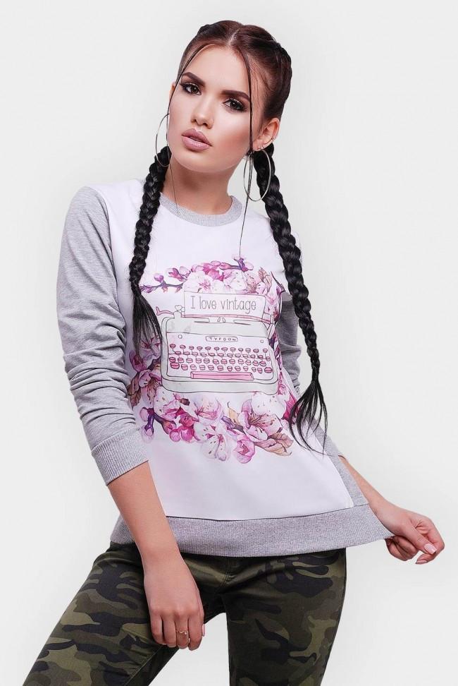 Женский спортивный светло-серый свитшот на резинке с цветочным принтом спереди
