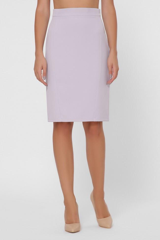 Классическая женская прямая юбка-карандаш с разрезом серо-голубая
