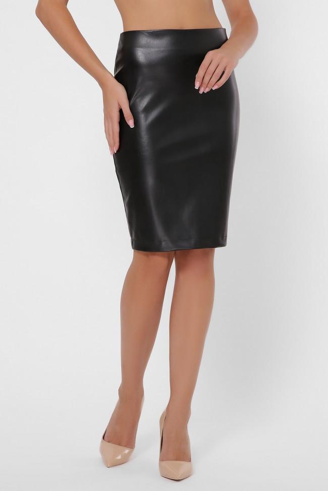 Стильная прямая женская юбка-карандаш с экокожи до колен с молнией сзади черный