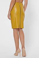 Стильная прямая женская юбка-карандаш с экокожи до колен с молнией по всей длинне горчичный
