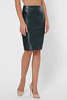 Стильная прямая женская юбка-карандаш с экокожи до колен с молнией по всей длинне зеленый