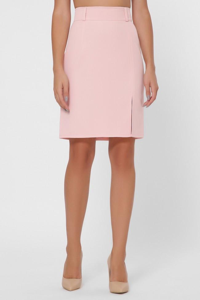 Женская однотонная красная классическая прямая юбка с разрезом спереди высокая посадка