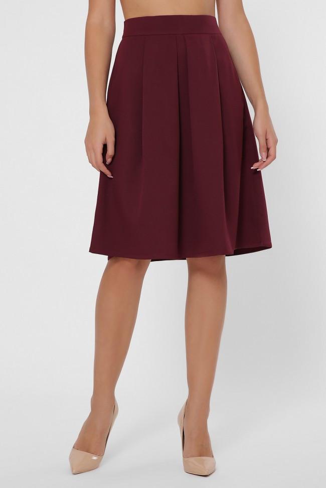Элегантная женская бордовая юбка полусолнце ниже колен