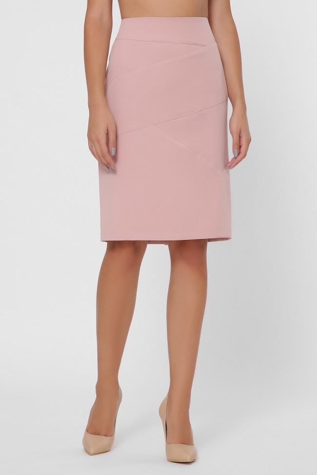 Оригинальная прямая женская юбка до колен с декоративными строчками по длинне и разрезом сзади цвет темная
