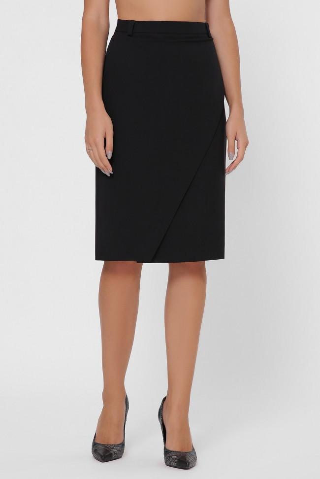 Стильная женская однотонная юбка-карандаш на запах до колен цвет черный