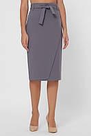Классическа женская однотонная юбка-карандаш на запах до колен  со сьемным поясом цвет серый