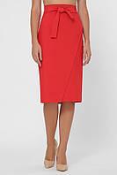 Базовая женская однотонная юбка-карандаш на запах до колен  со сьемным поясом цвет красный