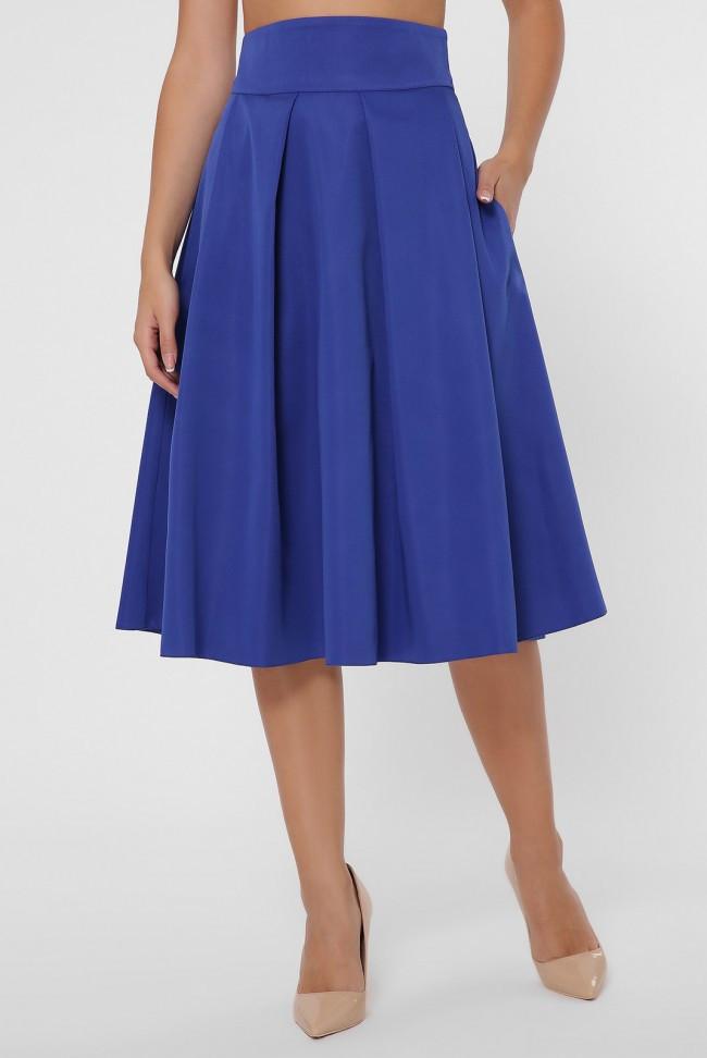 Пышная женская юбка-солнце до колен с широким поясом цвет электрик