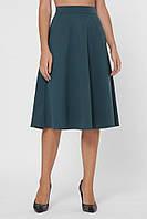 Классическая однотонная женская юбка полусолнце миди до колен с карманами
