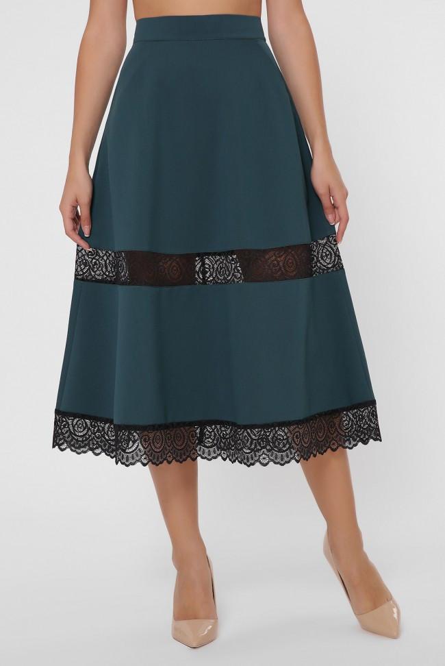 Элегантная женская зеленая юбка - полусолнце с круговыми вставками из кружева до колен