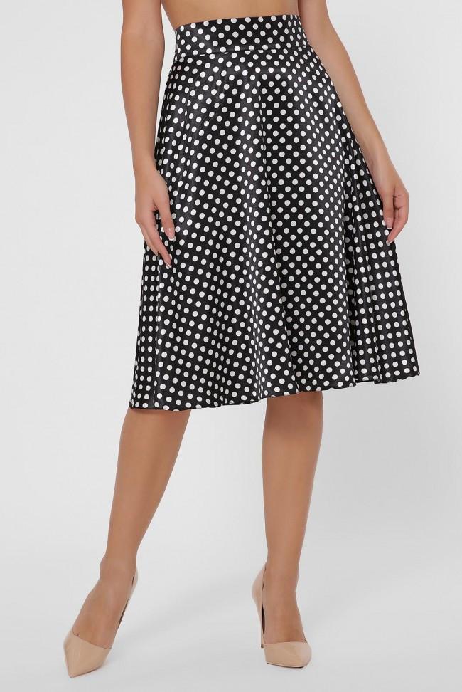 Атласная черная юбка - клеш в горошек до колен