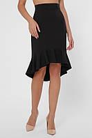 Ассиметричная женская юбка миди до колен с воланом снизу электрик