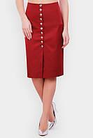 Оригинальная бордовая женская юбка-карандаш с завышенной талией и декоративными пуговицами спереди