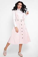 Стильная женская пышная юбка миди на пуговицах с широкими бретелями цвет пудра