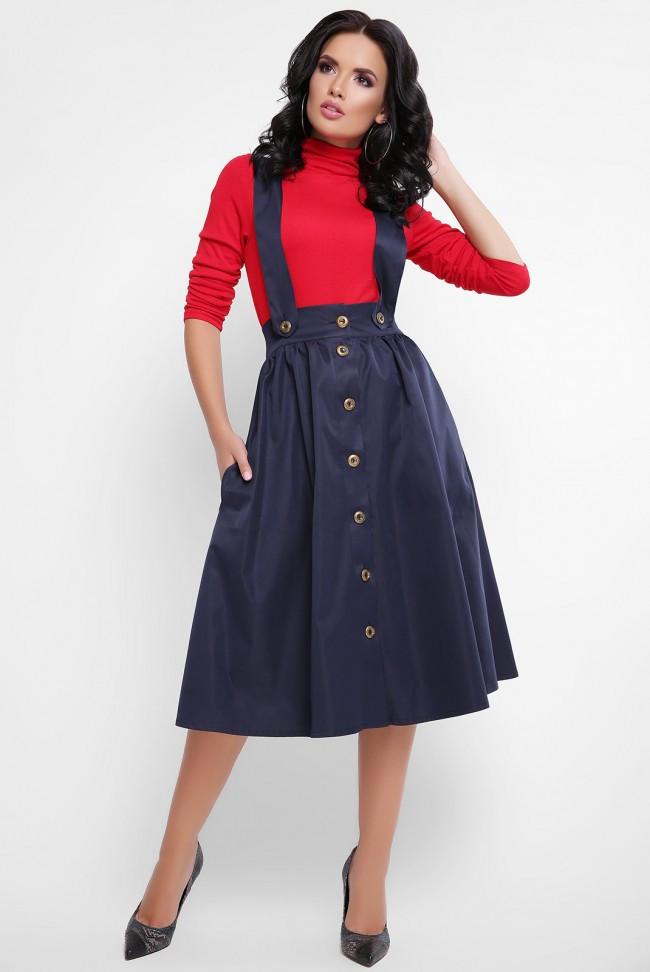 Стильная женская пышная юбка миди на пуговицах с широкими бретелями темно-синяя