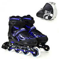 Ролики Best Roller размер 35-38,для мальчиков, цвет черно-синий, модель 6006.
