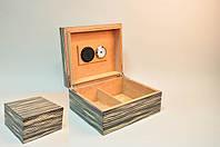 Лакированный бокс серого цвета с черными прожилками для сигар (Хьюмидор) на 25 шт с увлажнителем