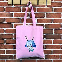 Тканевая сумка Шоппер City-A Девочка с рогами Розовая