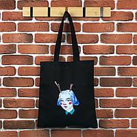 Тканевая сумка Шоппер City-A Девочка с рогами Черная