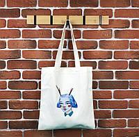 Тканевая сумка Шоппер City-A Девочка с рогами Белая