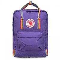Городской Рюкзак Fjallraven Kanken 16л Classic Темно-фиолетовый Rainbow с ручкой в радугу
