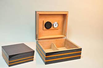 Лакированный бокс темно-серого цвета для сигар (Хьюмидор) на 25 шт с увлажнителем