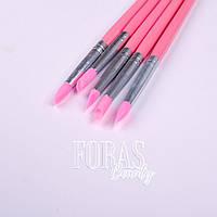 Набор силиконовых кистей для лепки/втирки 5шт (розовые)