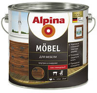 Алкидный лак для мебели шелковисто-матовый (для наружных и внутренних работ) Alpina Möbel 2,5л