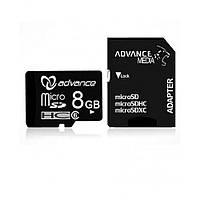 Микро SD Карта памяти Advance Micro SD - 8 Гб MSD 8GB Advance / C10 + SD
