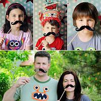 Фотобутафория 50 штук усы и губы на палочках  для фотосессии
