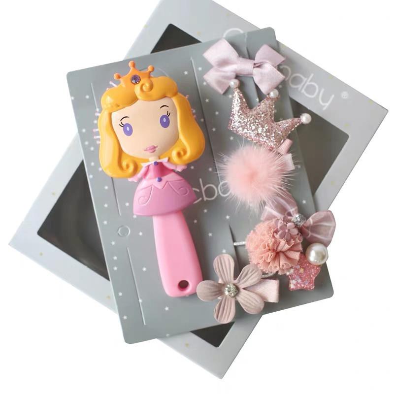 Набор детских аксессуаров заколки и расческа для девочек младшего возраста Принцесса