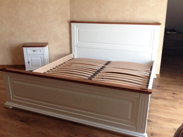 """Кровать двуспальная """"Прайм"""" Комби деревянная"""