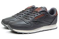 Мужские кроссовки Reebok Classic Leather темно-серые р.42 Акция -45%!