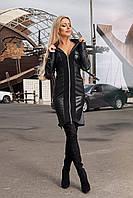 Женское платье с кожаными вставками норма и батал