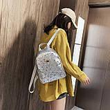 """Женский маленький рюкзак """"КОРОНА"""" школьный детский портфель серый, фото 2"""