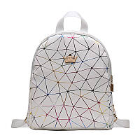 Женский рюкзак мини паутинка с короной школьный портфель маленький міні жіночий Белый